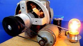 Make Free energy generator DC motor 220V light bulbs - Best idea at home 2018