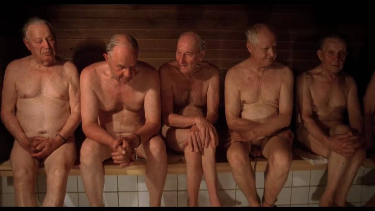 Old naked men in shower