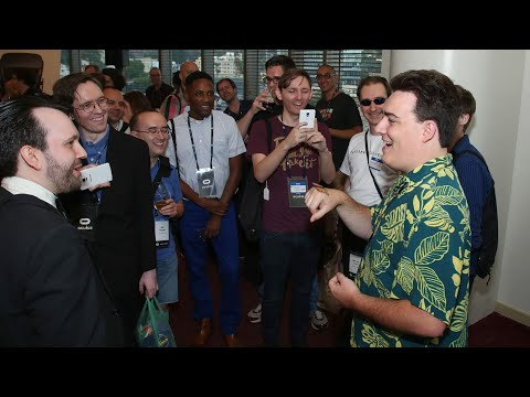 Palmer Luckey reacts to magic trick at Oculus Connect