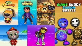 "KICK THE BUDDY ""Fusion Battle"" with Talking Tom Gold Run VS Temple Run VS Subway Surfers Gameplay"