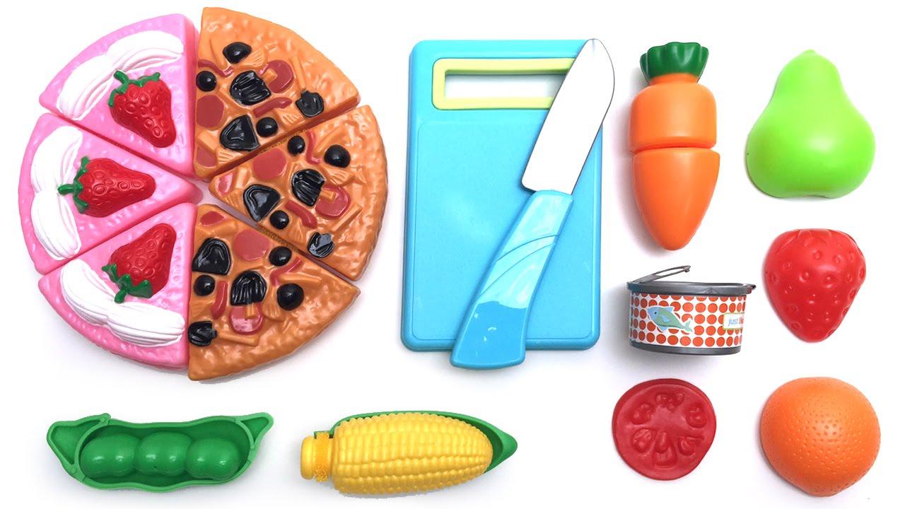 Toy Cutting Velcro Wooden Plastic Food Playset Comida De