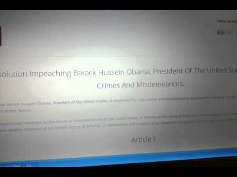 Breaking: Articles Of Impeachment To be Filed Against Obama!!!