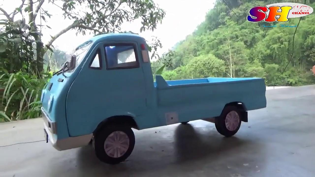 cara membuat miniatur colt pick up dari triplex - YouTube