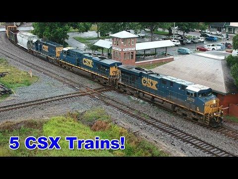 Five CSX Trains In Plant City, FL! (Drone Views)