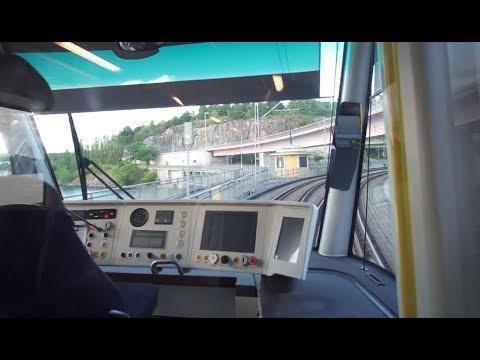 Sweden, Stockholm, tram ride from Lidingö / Gåshaga brygga to Ropsten subway station