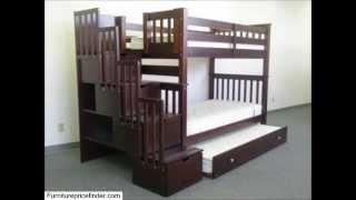 Bedz King Tall Twin Over Twin Stairway Bunk Bed With Twin Trundle, Cappuccino