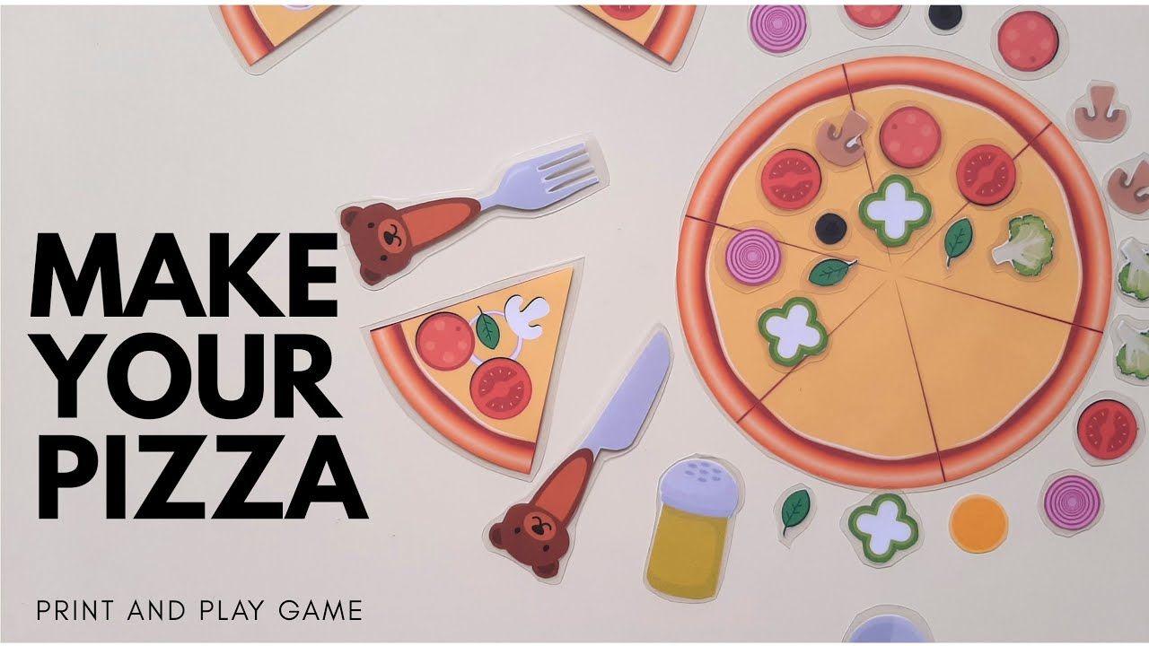 Pizza game printable | Pretend play pizza set | Make your own pizza