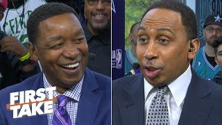 Download Isiah Thomas laughs at Stephen A. for getting called out by Magic Johnson | First Take Mp3 and Videos