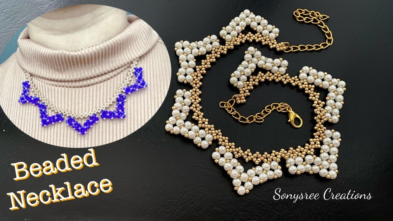 Pearl Beaded Necklace || Bicone Necklace || How to make Beaded jewelry