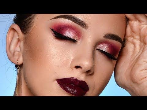 Burgundy Fall Makeup Tutorial – Sparkly Smokey Eye & Dark Lips