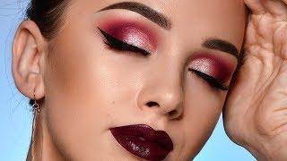 Burgundy Fall Makeup Tutorial | Sparkly Smokey Eye & Dark Lips