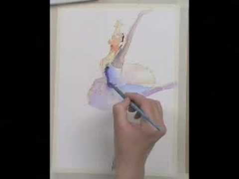 How To Paint A Ballet Dancer Ballerina Using Watercolors Youtube