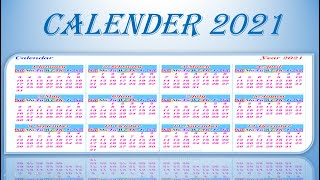 Calendar 2021 with holidays | Calendar animations in Powerpoint | Presentation with Calender 2021