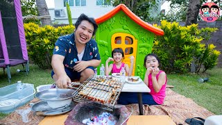 พ่อบอมชวนหนูยิ้มหนูแย้มสร้างบ้านปิคนิค กินย่างซี่โครงหมู
