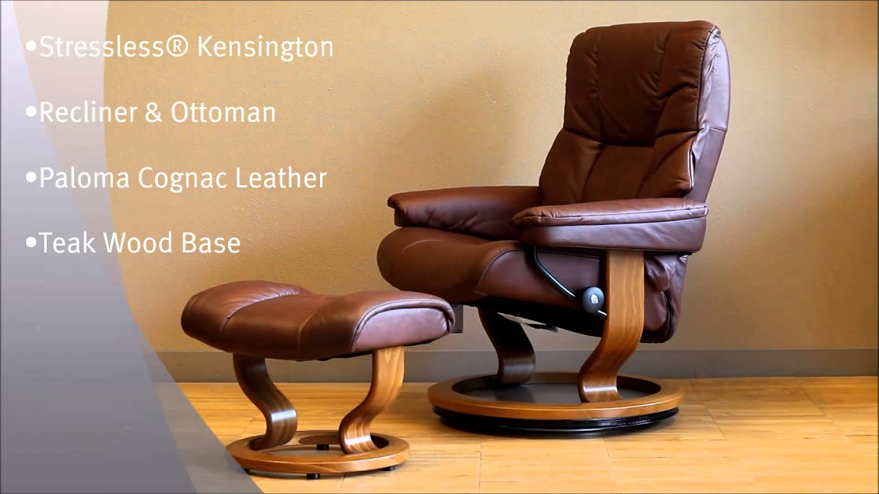 Stressless Kensington Recliner Chair And Ottoman Paloma Cognac Leather Teak  Wood Base By Ekornes   YouTube