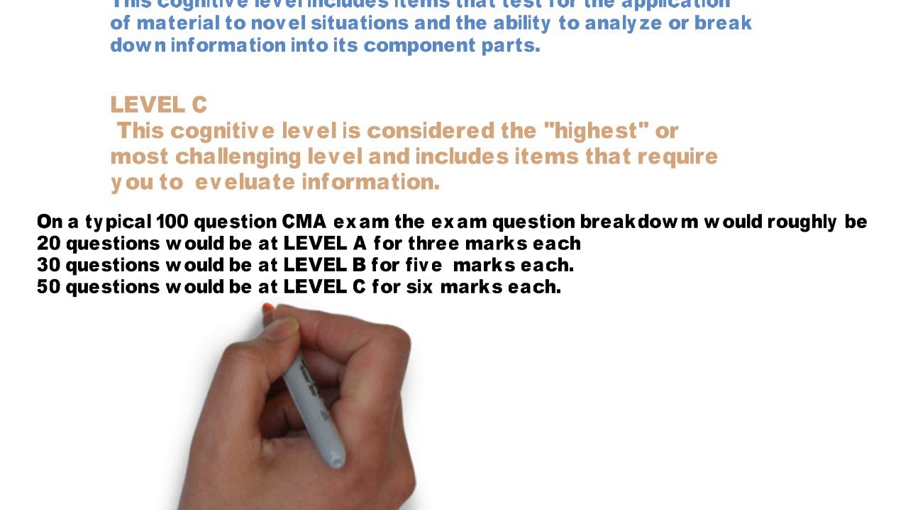 The 3 levels of CMA Multiple choice test questions