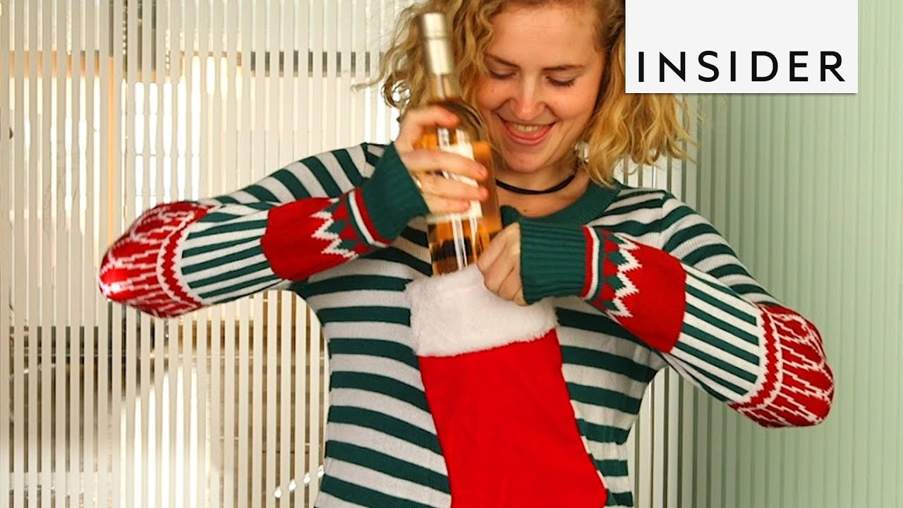 e8270162d6d35a Hold a Bottle of Wine in this Ugly Christmas Sweater - YouTube
