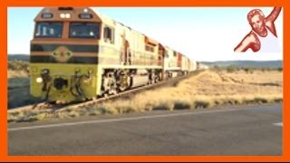 Ground shakes as huge long freight train hauls arse speeding outa Alice Springs - Central Australia