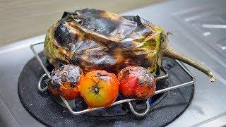 বেগুন টমেটোর পোড়া ভর্তা | গ্যাসের চুলায় পোড়া ভর্তা | Roasted Eggplant and Tomato Bhorta