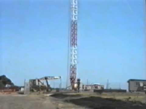 Construction of the BayFM & K-Rock FM Tower 1989 near Geelong, Victoria, Australia