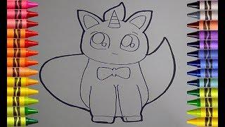 Menggambar & Mewarnai Kucing Lucu   Cute Unicorn and Cat UNICAT Easy Drawing for Kids   Art for kids