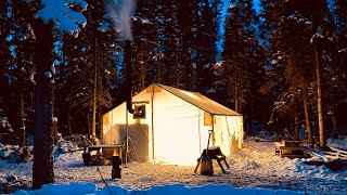 ESCAPE to a WIΝTER PARADISE    CAST IRON HOT TENT WINTER CAMPING