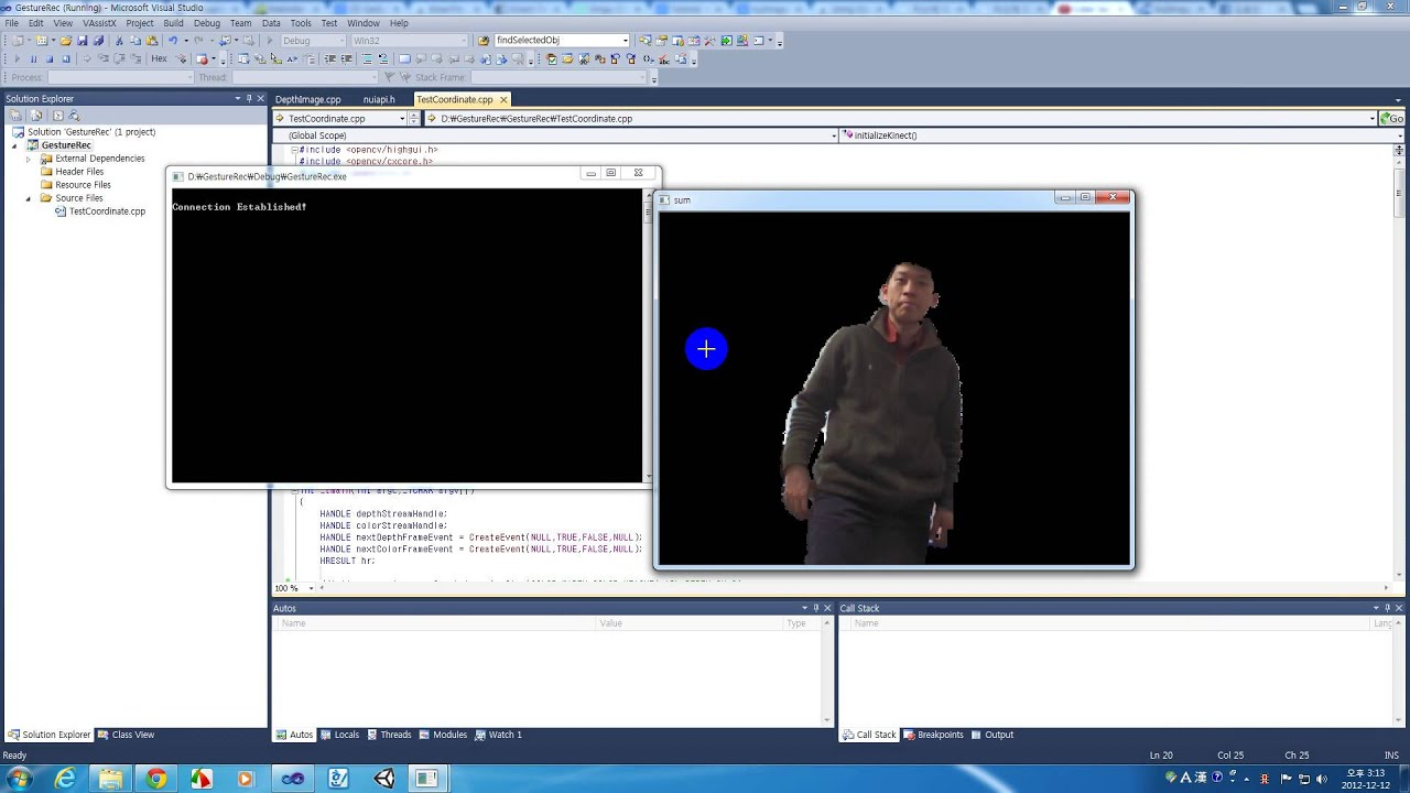 Pixel Alignment with depth/color (using Kinect SDK / OpenCV )
