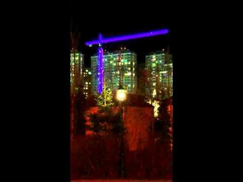 Подсветка башенного крана на стройке Храма Никольского г. Красногорск