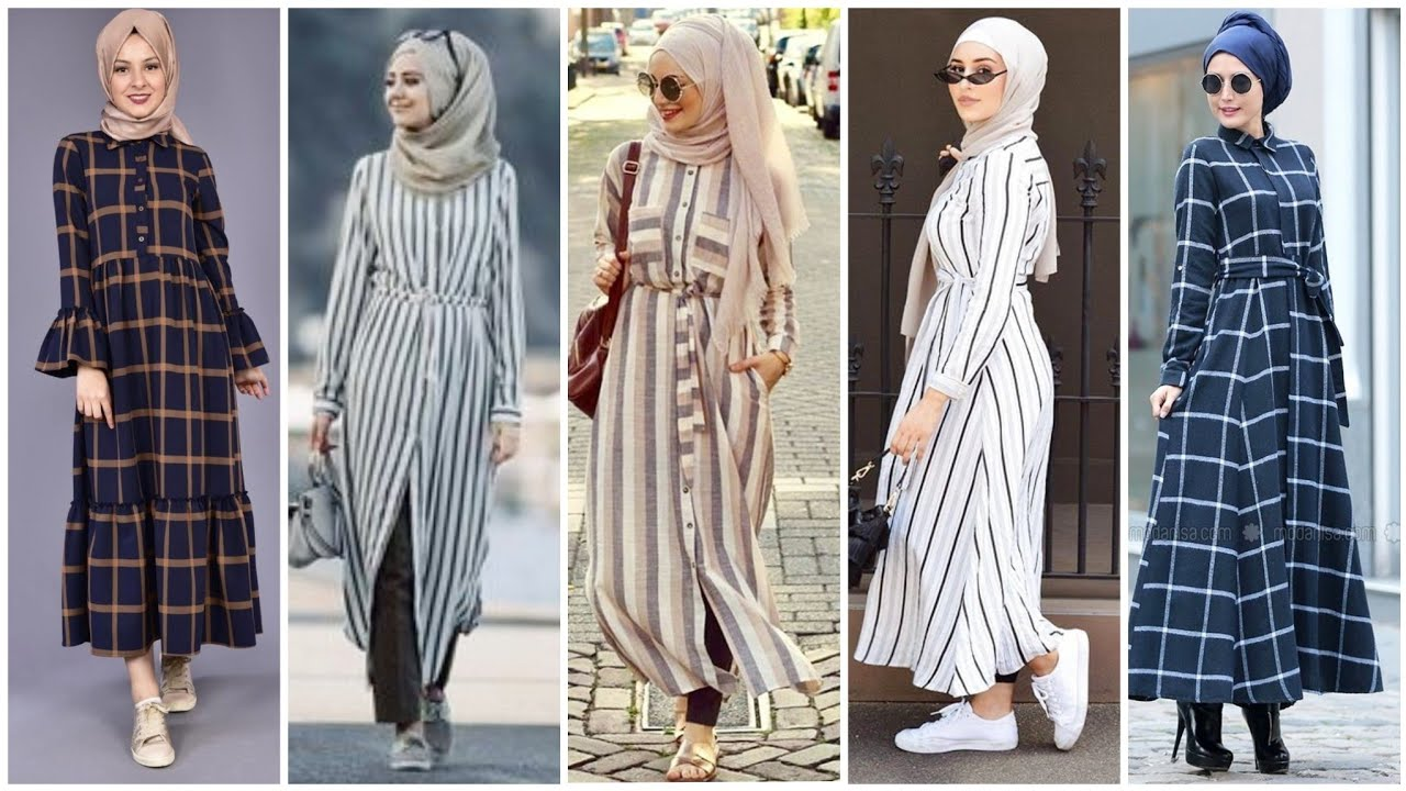 Top 48 Very Stylish Arabic Style Lined & Check Print Abaya Dress Collection/Hijab Fashion 2020/D