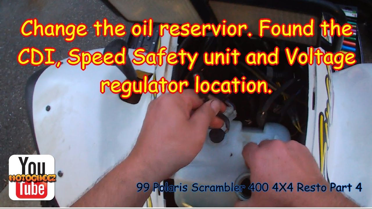 1999 Polaris Scrambler 400 4x4 Part 4 Oil Reservoir Change And Cdi Sportsman Wiring Diagram Speed Limiter Regulator