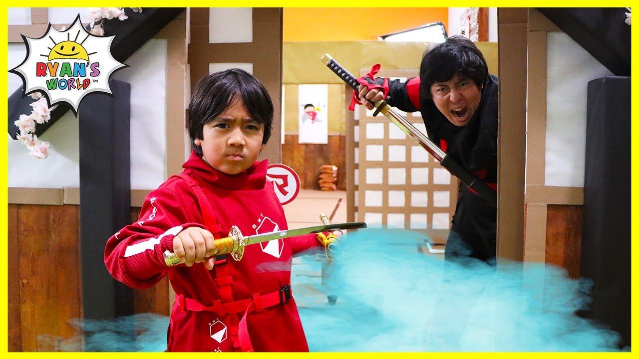 Ninja Ryan Box Fort Maze Challenge with Bloopers!!!