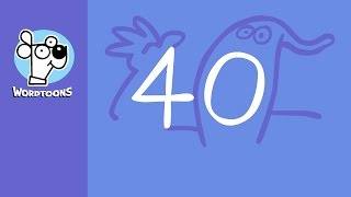 Draw 40 Into 3 Cartoons ( Wordtons Random Number 40 )