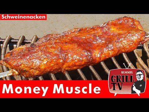 Money Muscle aus dem Schweinenacken am Spieß grillen.--- Rummel Grill TV #rummelgrilltv