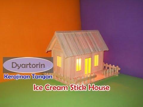How To Make Ice Cream Stick House With Light Kreasi Miniature Rumah Lampu Dari Stik Es Krim
