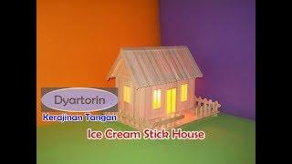 How to make ice cream stick house with light | kreasi miniature rumah lampu dari stik es krim