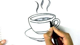 How to draw Tea Cup & Saucer- in easy steps for children. beginners