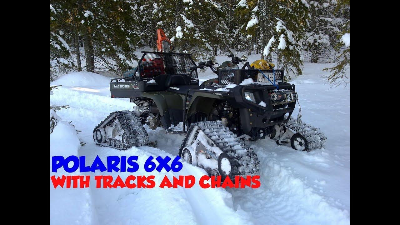 Amazing polaris 6x6 sportsman 800 big boss atv tatou utv snow tracks kit chains 6 belter six wheeler youtube