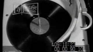 Gramophone playing, record spinning