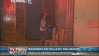 Villa El Salvador: Incendio consumió taller de carpintería