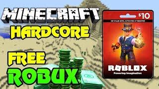 🔴 GRÁTIS 1200 ROBUX GIVEAWAY!! ($10 cartão de presente) | Minecraft HARDCORE! | ROBUX a cada 30 minutos! | Viver