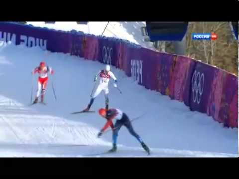 Сочи 2014 Лыжные гонки массовое падение мужчин финал Олимпиада в Сочи
