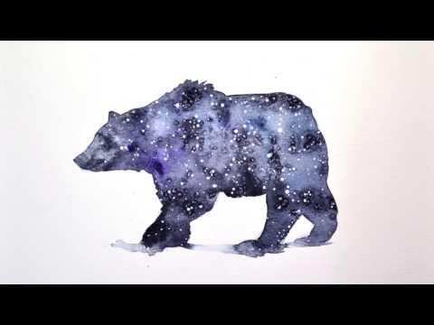 Watercolor Illustration Stellar bear Speedpainting by Anarh1a