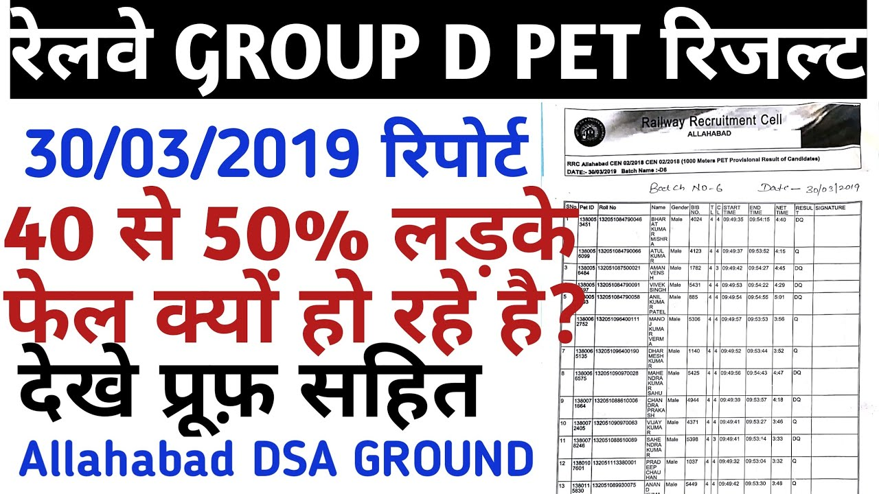 RRB GROUP D PET RESULT ALLAHABAD DSA GROUND 30/03/2018/RAILWAY GROUP D PHYSICAL RESULT