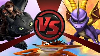 TOOTHLESS vs SPYRO vs CRASH! Battle Royale! Cartoon Fight Club Episode 28