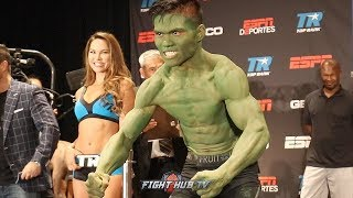 FIGHTER SHOWS UP AS THE HULK DURING WEIGH IN - RICKY SISMUNDO FACE TO FACE W/ARNOLD BARBOZA