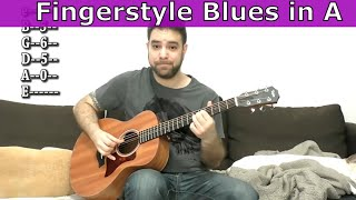 Lesson: Fingerstyle Blues in A - 19 Chord & Soloing Ideas - Guitar Tutorial w/ TAB