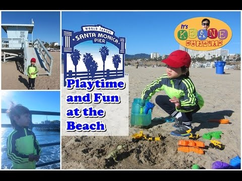 Enjoying the Beach of Santa Monica | Play with Toys and T-Rex
