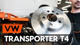 How to replace Brake rotors kit on VW TRANSPORTER IV Bus (70XB, 70XC, 7DB, 7DW) - video tutorial