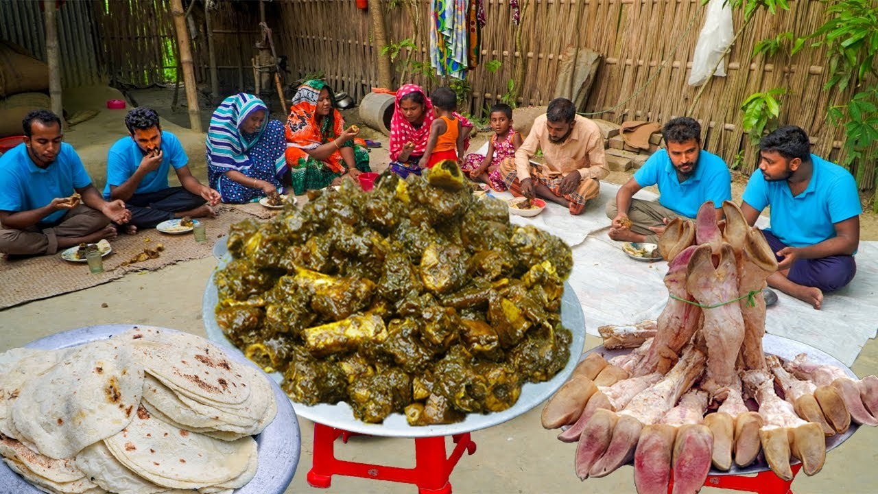 মহিষের ২০টি পায়ের নেহারির সাথে গমের রুটি - Buffalo Paya Cooking for Unfortunate Brother Family