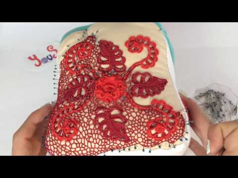 CROCHET IRLANDES- Bolsito Mama -Tutorial 2 red irregular
